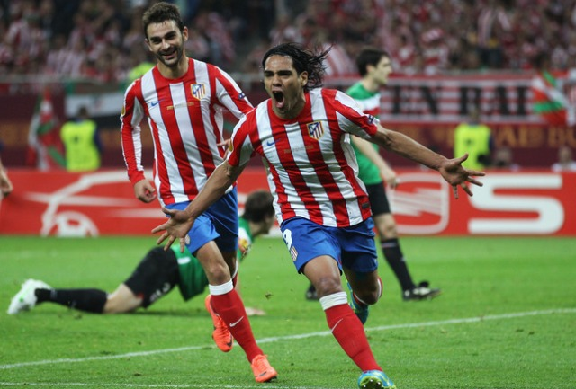 falcao celebrates goal europa league final athletic bilbao