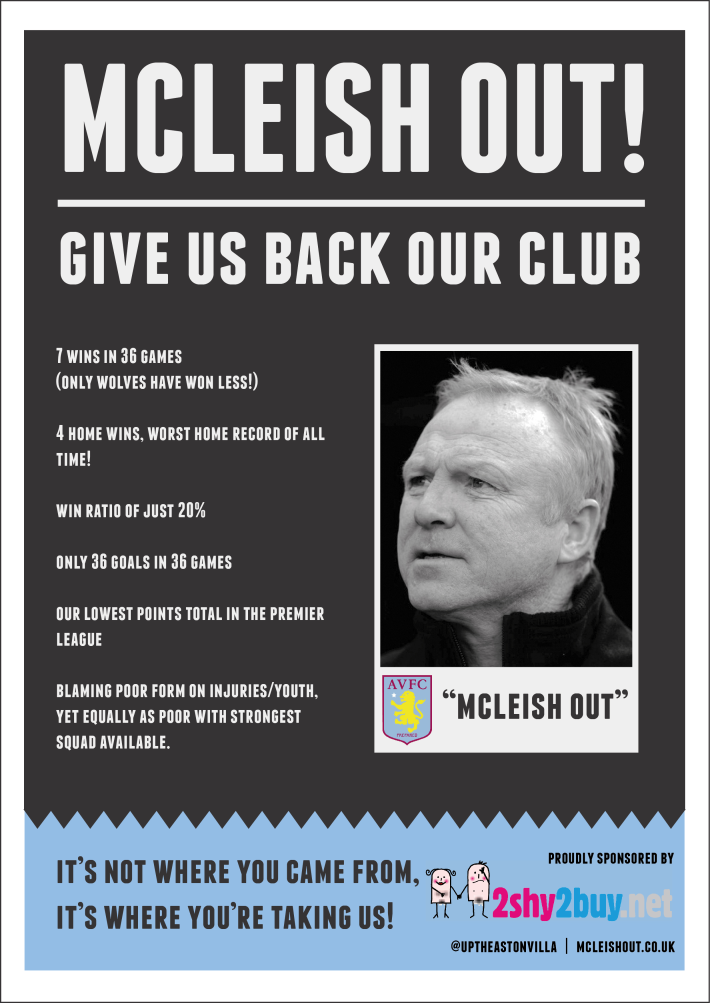mcleish out flyer aston villa protest spurs