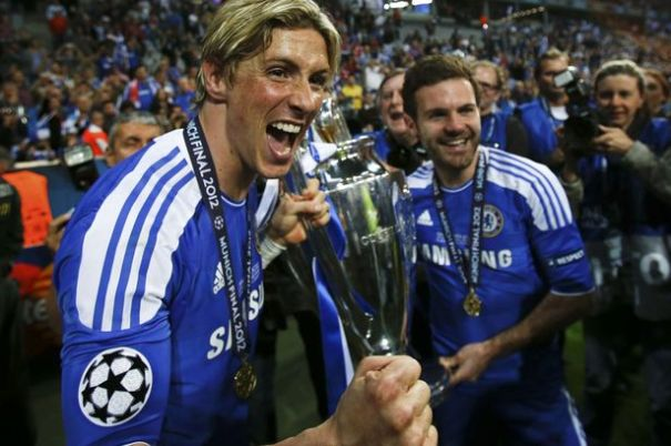torres champions league win chelsea celebrate juan mata
