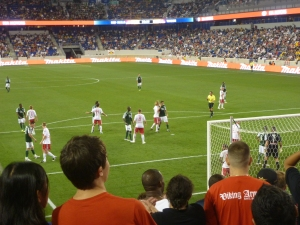 A corner during new york red bulls v portland timbers mls soccer