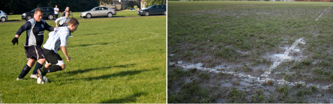bristol downs league football, muddy football pitch